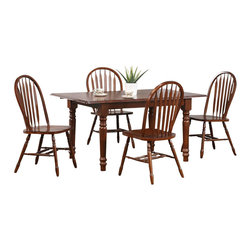 Sunset Trading - 5-Pc Eco-friendly Rectangular Dining Set - Includes table and four chairs. Sturdy quality craftsmanship. Chair with perfectly carved turned legs. Large backrest and seating area. Windsor style arrow back. Curved and comfort back. Scooped seat. Table with self storing 12 in. leaf. Solid handcrafted hardwood. Warranty: One year. Made from Malaysian oak. Chestnut finish. Made in Malaysia. Minimal assembly required. Chair: 19.5 in. W x 20 in. D x 38 in. H (16 lbs.). Table minimum: 48 in. L x 36 in. W x 30 in. H. Table maximum: 60 in. L x 36 in. W x 30 in. H (98.16 lbs.)Welcome guests into your home with a touch of country comfort with this classic American piece from the Sunset Trading Andrews Collection. Whether it's casual coffee and conversation, everyday dining, holidays or special occasion, memories are guaranteed to be made when family and friends gather around this versatile dining table. Warm and inviting the classic beauty and craftsmanship of this dining table makes it equally appropriate for your kitchen or dining room fulfilling all your formal and informal dining needs. Classic and timeless, along with the memories made, this relaxed dining piece will bring warmth and comfort to your home for years to come. This beautifully designed furniture supplied by Sunset Trading will assure you many years of use and enjoyment. Complete your dining decor with the country charm of timeless casual dining chairs from the Sunset Trading Andrews Collection. Offering traditional classic beauty and style, yet always dependably functional, your family and friends will enjoy the seating comfort of this inviting relaxed dining chairs for years to come.