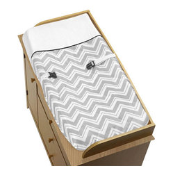 Sweet Jojo Designs - Zig Zag Black and Gray Changing Pad Cover by Sweet Jojo Designs - The Zig Zag Black and Gray Changing Pad Cover by Sweet Jojo Designs, along with the  bedding accessories.