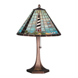 "Meyda - 21""H Cape Hatteras Lighthouse Table Lamp - Lighthouse /hex base the famous cape hatteraslighthouse is featured in this enchanting accent lamprepresenting the steadfast structure that is a beaconto passing ships at sea. The ocean and sky are depictedin blue and grey colored glass. Created of stained artglass that is individually cut, wrapped in copper foiland soldered, this is a charming piece of art. The hexbase is finished in a handsome mahogany bronze. Bulb type: med bulb quantity: 1 bulb wattage: 100"