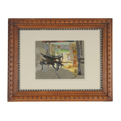 Lost Art Salon - 1960s Original Soviet Impressionist Oil Scene Framed - An impressive painting and a piece of history in one. This oil on paper board by Soviet artist Gennadi Olempiyuk depicts a comrade at work — a fascinating accent for your decor and a vital addition to your art collection.