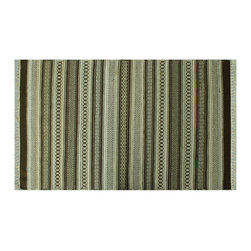 Area Rug, 3'X5' 100% Wool Flat Weave Hand Woven Stripped Durie Kilim Rug SH6275 - Soumaks & Kilims are prominent Flat Woven Rugs.  Flat Woven Rugs are made by weaving wool onto a foundation of cotton warps on the loom.  The unique trait about these thin rugs is that they're reversible.  Pillows and Blankets can be made from Soumas & Kilims.
