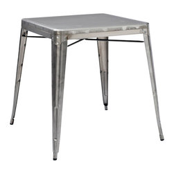 """Crosley Furniture - Crosley Furniture Amelia Square Metal 26x26 Cafe Table in Galvanized - Originally made famous in the quaint bistros of France, these midcentury replicas of original Cafe tables will offer a dose of nostalgia combined with careful consideration for your wallet.  This inspired revival evokes a sense of a true vintage find. The Amelia collection is available in a variety of colors, including our unique galvanized finish. This raw steel look is hands prepared to enhance the inherent tones of the metal. Designed to acquire an aged patina, the galvanized finish will naturally rust over time, giving it a unique industrial """"relic"""" look."""