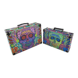 Set of 2 Day of the Dead Sugar Skull Carry Case Boxes - These boxes provide a little extra storage space, are handy for traveling, and add a fun accent to your home. They are perfect for storing small keepsakes, craft and hobby supplies, and collections of small items in an attractive way, so you don't have to hide the boxes in a closet. The boxes are made of wood and covered with a canvas material that features colorful Day of the Dead sugar skull graphics. The lids are hinged and have clasps to secure them, and each has a secure carry handle on the top. The larger box measures 14 inches long, 4 1/2 inches wide, 9 1/2 inches high, and the smaller one measures 11 3/4 inches long, 3 1/2 inches wide, and 7 1/4 inches high. They nest for storage purposes, and look great stacked in the corner of a room or on a table or shelf.