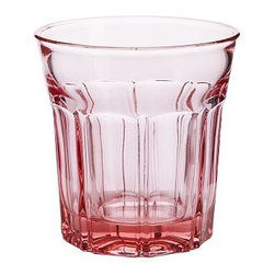 """Colorful Cafe Glassware Tumbler, Set of 6, Blush - Brighten up everyday meals with our cheerful tumblers and goblets modeled after cafe glassware. They're available in a rainbow of colors and have a weighty feel. Goblet: 3.75"""" diameter, 6.75"""" high; 8 fluid ounces Tumbler: 4"""" diameter, 4"""" high; 8 fluid ounces Made of molded tinted glass. Set of 6. Dishwasher-safe."""
