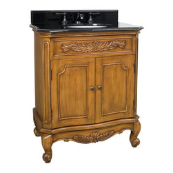 "Hardware Resources - Lyn Design VAN060-T - This 30-1/2"" wide MDF vanity features carved floral onlays and French scrolled legs for a traditional feel. The warm caramel finish adds depth. A large cabinet provides ample storage. This vanity has a 2CM black granite top preassembled with an H8809WH (15"" x 12"") bowl, cut for 8"" faucet spread, and corresponding 2CM x 4"" tall backsplash. Overall Measurements: 30-1/2"" x 20-1/4"" x 35-1/2"" (measurements taken from the widest point)"