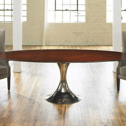 """Julian Chichester Dakota Wood Oval Table - Saarinen-inspired table with beautiful lines and a nickel-plated base. The wood tabletops have a pie-cut veneer. All wood tables are 30"""" in height."""