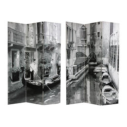 Oriental Furniture - 6 ft. Tall Double Sided Scenes of Venice Canvas Room Divider - Two simple, serene, still life images of unoccupied gondolas and residences on a small Venice side canal. Place these close cropped black and white photographs of one of Italy's most romantic cities in your living room, dining room, office or bedroom. Printed onto six foot tall, three panel room divider screens. Interesting urban art, timeless and modern, works well with many styles of interior design. An effective, durable, portable, and practical room divider.