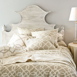 Ballard Designs - Suzanne Kasler Quatrefoil Sham - Machine wash. Imported. This Sham strikes the perfect balance between casual and formal. The classic quatrefoil pattern lends visual texture while the neutral ground makes it easy to blend with your favorite accent colors. Sewn in soft, nicely textured linen/cotton blend with solid reverse and button closure. Quatrefoil Bedding features:  .