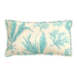 "Cushion Source - Floating Seaweed Baltic Outdoor Lumbar Pillow - The 20"" x 12"" Floating Seaweed Baltic Outdoor Lumbar Pillow features a beautiful flowing seaweed pattern in a soft turquoise on a natural background. Perfect for the beach!"