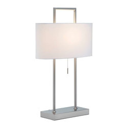Adesso - Adesso Sullivan Table Lamp - This satin steel table lamp sports pure white poly/cotton oval shade. Two poles extend from the flat rectangular base; within the shade a cross-bar supporting the socket connects the poles, which then square off above the shade. Has a stick-accented steel pull-chain switch, The back of this lamp's base has the added feature of two AC outlets - great for charging devices on one's nightstand or end table. 60 Watt incandescent or 13 Watt CFL bulb. 26.5 in Height. Base: 11 in Width, 5.5 in Depth. Shade: 8.25 in Height, 17 in Width, 8 in Depth.