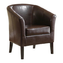 Linon - Vinyl Club Chair w Deep Seat (Brown) - Simon Collection. High arms and a deep seat. Arching backrest and flared armrests provide a retro-modern design. Accentuated by tightly woven stitching. Upholstered with stain and fade resistant wipe-clean vinyl. Arms and back are generously padded for extra comfort. Hardwood frame will provide strength and stability for years to come. Only for residential use. No commercial usage. Minimal assembly required. 28.35 in. W x 25.98 in. D x 32.68 in. HThis modern Simon Club Chair features high arms and a deep seat, while the arching backrest and flared armrests provide a retro-modern design that is perfect for any setting. The chair is accentuated by tightly woven stitching and upholstered with stain and fade resistant wipe-clean vinyl. The hardwood frame will provide strength and stability for years to come.  The arms and back are generously padded for extra comfort.