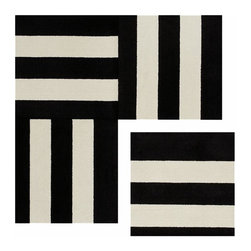 "FLOR™ Side by Side™ Tile CB2 - The possible combinations for FLOR carpet tiles are literally endless, but I feel confident you can't lose when you throw these black and white striped ones into the mix.Ingenious build-your-own rug tile systemRecyclableNylon fibers in bold black-and-white stripeIncludes adhesive dots19.7"" square"