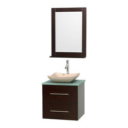 """Wyndham Collection - Centra 24"""" Espresso Single Vanity, Green Glass Top, Avalon Ivory Marble Sink - Simplicity and elegance combine in the perfect lines of the Centra vanity by the Wyndham Collection. If cutting-edge contemporary design is your style then the Centra vanity is for you - modern, chic and built to last a lifetime. Available with green glass, pure white man-made stone, ivory marble or white carrera marble counters, with stunning vessel or undermount sink(s) and matching mirror(s). Featuring soft close door hinges, drawer glides, and meticulously finished with brushed chrome hardware. The attention to detail on this beautiful vanity is second to none."""