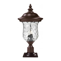 Three Light Bronze Clear Waterglass Glass Post Light - Traditional charm emanates from this large outdoor pier mount fixture, which pairs clear water glass with rubbed bronze hardware for a timeless look.