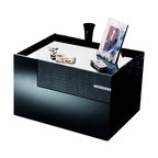 Rossetto - Rossetto Diamond Left Night Stand in Black - Rossetto - Nightstands - T26650N210128 -The bedside tables repeat the design of the dresser and match it with their decorative surfaces, in crocodile leather effect and a narrow inlay in Strass Swarovski Crystal design.