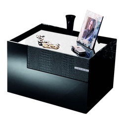Rossetto - Rossetto Diamond Left Night Stand in Black - Rossetto - Nightstands - T26650N210128 - The bedside tables repeat the design of the dresser and match it with their decorative surfaces in crocodile leather effect and a narrow inlay in Strass Swarovski Crystal design.