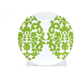 """Q Squared NYC - 5.5"""" Round Plate Victorian - Green Emblems - Take a design out of great-grandma's day, blow it up to epic proportions, and you've got this fanciful dinnerware pattern. Made of durable, dishwasher-safe melamine, these appetizer plates are perfect for cocktail parties, buffets — or anywhere you want sublime style that won't break the bank."""