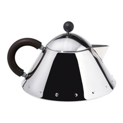 Alessi - Michael Graves Teapot by Alessi - Designed for serving tea only (not for heating it). The Alessi Michael Graves Teapot, designed by Graves in 2005, echoes the shape and dotted decorations of his much admired Kettle with Bird Whistle from 1985. Made of mirror-polished 18/10 stainless steel.Alessi, known as the Italian design factory, has manufactured household products since 1921. The stylish and fun items offered are the result of contemporary partnerships with some of the world's best designers of unique and modern home accessories.The Alessi Michael Graves Teapot is available with the following:Details:Made of 18/10 stainless steel materialHandle and knob in PAMirror Polished finishCapacity 33.81 oz.Designed by Michael GravesNotes:This teapot is designed for serving only. It cannot be used for heating.Options:Color: Black, Blue, or Ivory.Shipping:In Stock items ship within 1 business day. Others usually ship within 2 weeks unless otherwise noted.