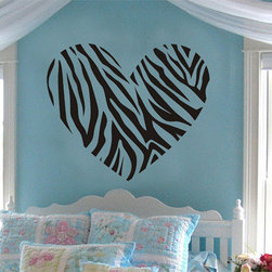 ColorfulHall Co., LTD - Fashionable Lovely Zebra Stripe Heart Wall Decals - You will find hundreds of affordable peel - and - stick wall decal designs, suitable for all kinds of tastes and every room in your house, including a children's movie theme, characters, sports, romantic, and home decor designs from country to urban chic. Different from traditional decals, vinyl wall decals is with low adhesive that allows you to reposition as often as you like without damaging the paint. Application is easy: peel offer the pre-cut elements on the design with a transfer film, and then apply it to your wall. Brighten your walls and add flair to your room is just as easy.