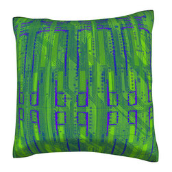 Custom Photo Factory - Abstract Green Pattern Pillow  Polyester Velour Throw Pillow - Abstract Green Pattern Pillow 18 Inches x 18  Inches.  Made in Los Angeles, CA, Set includes: One (1) pillow. Pattern: Full color dye sublimation art print. Cover closure: Concealed zipper. Cover materials: 100-percent polyester velour. Fill materials: Non-allergenic 100-percent polyester. Pillow shape: Square. Dimensions: 18.45 inches wide x 18.45 inches long. Care instructions: Machine washable