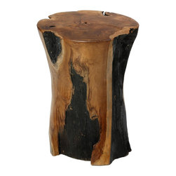 None - Bare Decor Hourglass Stump End Table - This unique hourglass-shaped end table is crafted from solid wood trunk for a natural appearance. Beautifully designed,this Bare Decor functional end table will add a nature-inspired touch to your living space.