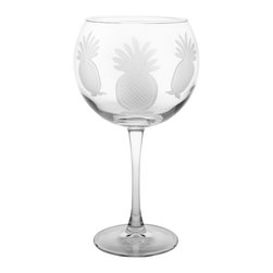 Rolf Glass - Pineapple Wine Glass, Clear, 7.875x3.438, Balloon - Welcome guests with this traditional symbol of hospitality. Each piece is diamond-wheel engraved.  Dishwasher safe.  Made in USA.