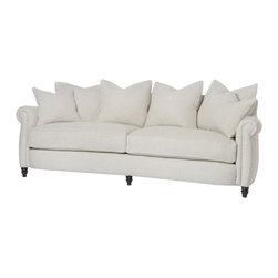 "Kathy Kuo Home - Cortona Classic Rolled Arm Feather Down Oatmeal Sofa - 90"" - Here's a couch the whole family will love - some for the good looks, others for the sheer comfort of resting on luxury feather construction. With rolled arms, turned feet and a generous collection of pillows, this is the perfect combination of comfort and style; Also sold in a smaller, condo 72 inch length. Made to order item- please allow 8 weeks. (4) x 24 x 24 inch, (2) x 18 x 18 inch feather cloud toss pillows included."