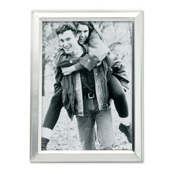 Lawrence Frames - Brushed Silver Plated 5x7 Metal Picture Frame - Elegant silver plated frame with a brushed satin silver finish and inner edged of polished silver.  High quality black velvet backing with an easel for vertical or horizontal table top display, and hangers for vertical or horizontal wall mounting.    Heavy weight 5x7 metal picture frame is made with exceptional workmanship and comes individually boxed.