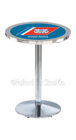 Holland Bar Stool - Holland Bar Stool L214 - Chrome U.S. Coast Guard Pub Table - L214 - Chrome U.S. Coast Guard Pub Table  belongs to Military Collection by Holland Bar Stool Made for the ultimate sports fan, impress your buddies with this knockout from Holland Bar Stool. This L214 U.S. Coast Guard table with round base provides a commercial quality piece to for your Man Cave. You can't find a higher quality logo table on the market. The plating grade steel used to build the frame ensures it will withstand the abuse of the rowdiest of friends for years to come. The structure is triple chrome plated to ensure a rich, sleek, long lasting finish. If you're finishing your bar or game room, do it right with a table from Holland Bar Stool.  Pub Table (1)