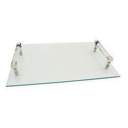 Go Home Ltd - Go Home Ltd Diamond Cut Glass Handle Tray X-09901 - Go Home Ltd Diamond Cut Glass Handle Tray X-09901