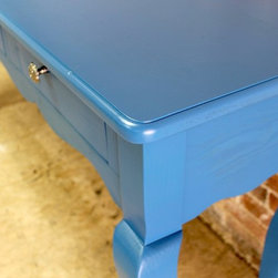 "Coastal Coastal Blue Console Table with Scalloped Apron - This whimsical console table will certainly add a pop of color to any room in your home.  Painted in Ben Moore Blueberry Blue, this is a sneak peak of the first of 2 colors to be applied. Being a bright and summery color, we thought it would be fun to photograph it anyway before we apply the black top color. The scalloped apron and cabriole legs make this a fun piece to say the least. The 3 drawers were added for extra storage and are seen with the customers hand selected hardware. Size in photo:  6' l x 20""d x 36"" h."