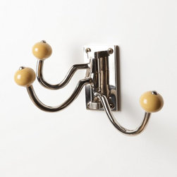 Soda Fountain Hook, Ceramic, Maize - Don't have the space for a full coat stand? Never fear! You are not destined to have piles of jackets draped over every surface near the door. Opt for a wall-mounted coat rack or, better yet, a compact multihook fixture like this one to keep your cold-weather gear off the floor and in one convenient place.