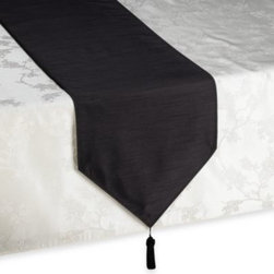 Trendex Home Designs, Inc. - Silk Road 90-Inch Table Runner in Black - Add an elegant accent to your table setting with this runner, featuring rich solid colors with a noticeable striated pattern and stitch accents.