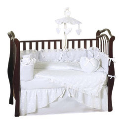Sweet Jojo Designs - Eyelet White 9 Piece Crib Bedding Set - The Eyelet White Crib Bedding Set is just one of the neutral crib bedding sets we offer from Sweet Jojo Designs. The 9-Piece baby bedding set includes a crib blanket, fitted crib sheet, crib bumper pads, crib skirt (dust ruffle), diaper stacker, toy bag, decorative pillow, and two window valances. This neutral baby bedding set will make any baby room feel special! The matching crib mobile and other matching accessories may be purchased separately.