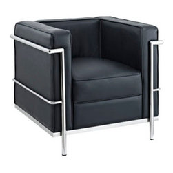 "LexMod - Charles Leather Petite Armchair in Black - Charles Leather Petite Armchair in Black - Urban life has always a quandary for designers. While the torrent of external stimuli surrounds, the designer is vested with the task of introducing calm to the scene. From out of the surging wave of progress, the most talented can fashion a forcefield of tranquility. Perhaps the most telling aspect of the Charles series is how it painted the future world of progress. The coming technological era, like the externalized tubular steel frame, was intended to support and assist human endeavor. While the aesthetic rationalism of the padded leather seats foretold a period that would try to make sense of this growth. The result is an iconic sofa series that became the first to develop a new plan for modern living. If previous generations were interested in leaving the countryside for the cities, today it is very much the opposite. If given the choice, the younger generations would rather live freely while firmly seated in the clamorous heart of urbanism. The Charles series is the preferred choice for reception areas, living rooms, hotels, resorts, restaurants and other lounge spaces. Set Includes: One - Le Corbusier LC2 Armchair Genuine Leather Seating Surfaces, Stainless Steel Frame, Multi-Density Foam Cushions Overall Product Dimensions: 27.5""L x 30""W x 26.5""H Seat Dimensions: 21""L x 17.5""W x 17""H - Mid Century Modern Furniture."