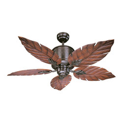 Savoy House Lighting - Savoy House Lighting 52-083-5RO-13 Portico Outdoor Fans in English Bronze - This sleek outdoor ceiling fan is perfect for flaunting your personality! This fan features a classic English Bronze finish with unique Palm Leaf Blades and is UL Damp Location Certificatied.