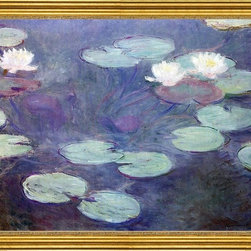 """Claude Oscar Monet-16""""x20"""" Framed Canvas - 16"""" x 20"""" Claude Oscar Monet Pink Water-Lilies framed premium canvas print reproduced to meet museum quality standards. Our museum quality canvas prints are produced using high-precision print technology for a more accurate reproduction printed on high quality canvas with fade-resistant, archival inks. Our progressive business model allows us to offer works of art to you at the best wholesale pricing, significantly less than art gallery prices, affordable to all. This artwork is hand stretched onto wooden stretcher bars, then mounted into our 3"""" wide gold finish frame with black panel by one of our expert framers. Our framed canvas print comes with hardware, ready to hang on your wall.  We present a comprehensive collection of exceptional canvas art reproductions by Claude Oscar Monet."""
