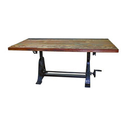 "Iron and Wood Crank Dining Table - Vintage Industrial Furniture from Tres Amigos Furniture. This Industrial Style Reclaimed Wood Crank Dining Table is crafted from iron and distressed hardwood and a solid iron crank base. The height is adjustable! Just a turn of the crank and the table adjusts from 31. 25"" to 37. 5"" high! The hand crafted nature of this imperfect piece of furniture will bring years of enjoyment and versatility to your home design style. See more items from this collection."