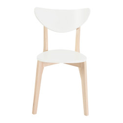 Eurostyle - Montana Side Chair (Set of 4) - White/Natural Wood - Matte white seat and back