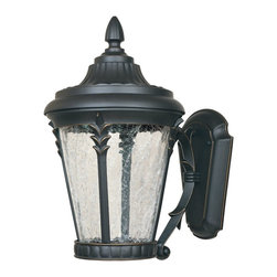 Designers Fountain - Designers Fountain Hillcrest LED Transitional Outdoor Wall Sconce X-PBA-13612DEL - A traditional lantern shape with elegant European inspired details, this Designers Fountain outdoor wall sconce is sure to please. From the Hillcrest Collection, it features an LED light source hidden behind a clear crackle glass shade. A dark toned finish with subtle gold accenting pulls the look together.
