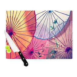 """Kess InHouse - Sylvia Cook """"Colorful Umbrellas"""" Multicolor Cutting Board (11"""" x 7.5"""") - These sturdy tempered glass cutting boards will make everything you chop look like a Dutch painting. Perfect the art of cooking with your KESS InHouse unique art cutting board. Go for patterns or painted, either way this non-skid, dishwasher safe cutting board is perfect for preparing any artistic dinner or serving. Cut, chop, serve or frame, all of these unique cutting boards are gorgeous."""