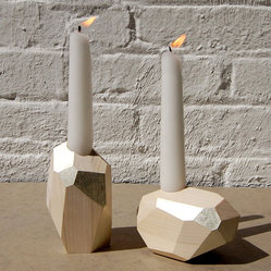 DORIT White Gold Decorative Wood Candle Holders By PELLEshop