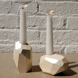 DORIT White Gold Decorative Wood Candle Holders By PELLEshop - Simple wood block candle holders get glammed up with faceted sides and a touch of silver. They would be great for a holiday celebration, or just to add some simple sparkle to your everyday table.