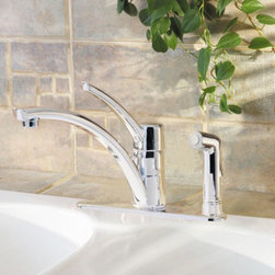 Pfister - Pfister Parisa GT34-3N Single Handle Kitchen Faucet - 534694 - Shop for Kitchen from Hayneedle.com! Fall for the smooth curves of the Pfister Parisa GT34-3N Single Handle Kitchen Faucet as its brings its contemporary style into your kitchen. Made from solid brass this faucet won't have any trouble batting bacteria and corrosion for a long life. The high-arcing and swiveling spout gives unobstructed access to the basin for over-sized cookware. Pull out the matching side sprayer to conveniently rinse dishes and produce in a snap. This faucet gives your pocketbook and Mother Earth a break with its efficient 1.75-gallon per minute operation. Product Specifications: Mount Type: Deck Mount Handle Style: Lever Valve Type: Ceramic Disc Flow Rate (GPM): 1.75 Swivel: 360 degrees Spout Height: 6.75-inch Spout Reach: 9-inch About PfisterPfister has been one of the most trusted names in the plumbing industry since they opened their doors in 1910. Since then they have created a legacy of excellence in design and engineering that has made them an innovative leader in the industry creating superior kitchen and bath faucets fixtures and accessories. They are continually exploring ways to meet eco-friendly standards and user-friendly products that cater to the needs of our environment.