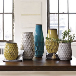 Hive Vases - What says summertime more than stunning hue of turquoise and yellow? I'd like to use these beautiful vases for an outdoor soiree and fill them with either seasonal flowers or a few handfuls of sand with a glowing candle in the center.