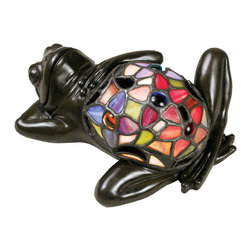 Cambridge - Tiffany Lounging Frog with Vintage Bronze Finish Tiffany Accent Figure - This adorable frog is full of personality,and adds a touch of whimsy to most any room in your home.  His belly is made of genuine Tiffany art glass in bright shades of red,lavender,pink and green.