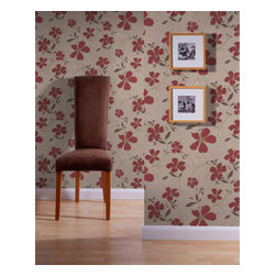 Graham & Brown - Rapture Wallpaper - This red and beige wallpaper is a loosely drawn pretty floral trail with soft suede effect flower heads, that contrast with the hard wearing background. Superfresco Easy has a host of coordinating plains and accents to help build your scheme - so it is Easy to choose - and using paste-the-wall technology means decorating times are cut by half - making it Easy to Use - it also comes off easily when you fancy a change