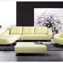 Modern Ivory Leather Match Sectional Sofa Chaise Chair Ottoman Set - Features