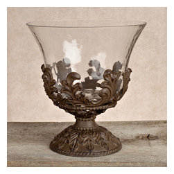 Gracious Goods GG - Baroque Metal Beverage Tub - This superbly styled glass ice bucket on Metal stand is perfect to hold the champagne for your wedding reception and first toast.* Diameter: 10in x 9.25in x 14.5in H * Care: We recommend to handwash in mild soap and dry with a soft cloth *The GG Collection