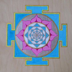 """Bliss Yantra"" (Original) By Laura Makinen - This Is A Yantra (Simple Mandala) Based On An Ancient Design. Painting The Yantra Is An Active Form Of Meditation, And Beyond Simply Being A Gorgeous Piece Of Art, This Design Is Intended To Cultivate Bliss And Love."